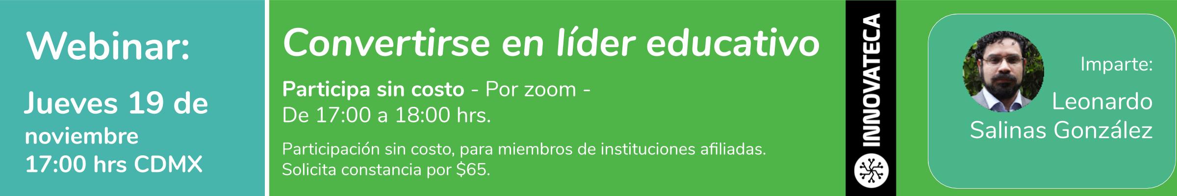 Webinar Innovateca Convertirse en líder educativo